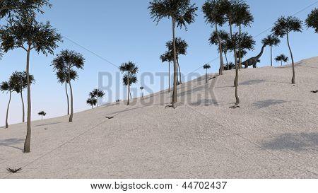 brachiosaurus on hill