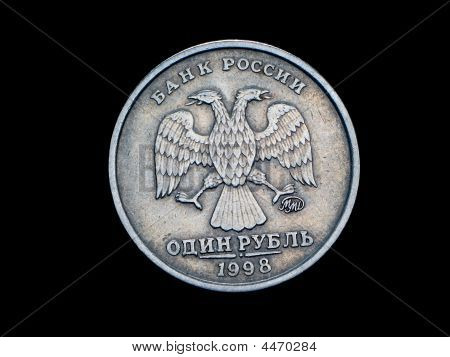 Coin One Rouble The Central Bank Of Russia On A Black Background