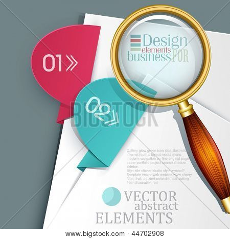vector, an office background with white sheets of paper, colored tabs and  magnifier