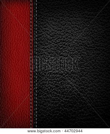 Schwarzes Leder-Hintergrund mit rotem Leder Streifen. Vektor-Illustration.
