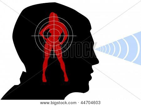 drawing of a male head and female silhouette
