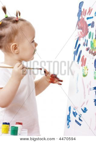 Little Girl Paint On A Board