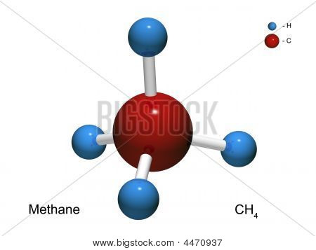 Isolated 3D Model Of A Molecule Of Methane
