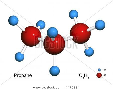 Isolated 3D Model Of A Molecule Of Propane