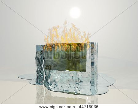 Banknote in ice on fire