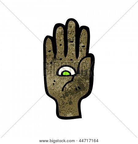 all seeing eye hand cartoon