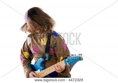 Girl Fashion Moving Whit Electric Guitar