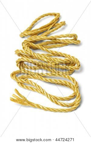 Loose Rope Spreaded Out On White Background