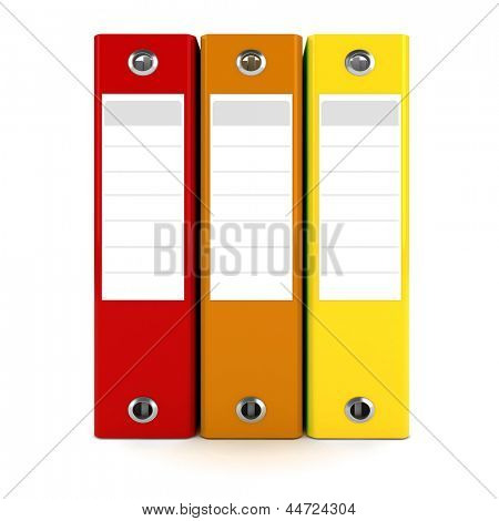 3d colorful dossiers folders on white background