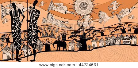 vector illustration of a composition about africa (each element separated)