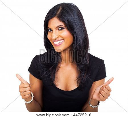 happy businesswoman giving thumbs up over white background