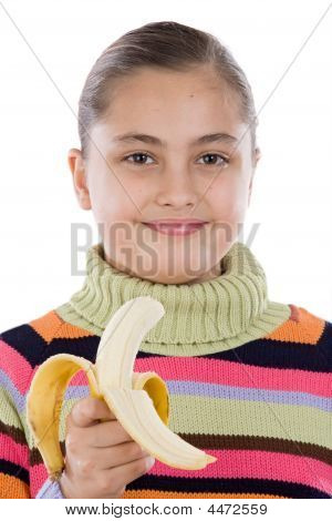 Cute Girl With A Peeled Banana