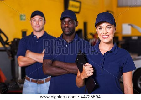 group of garage workers portrait