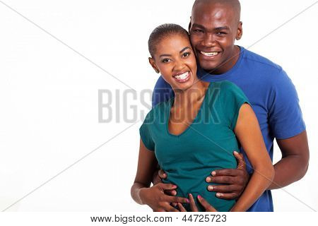 portrait of happy young afro american couple on white background