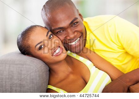 close up portrait of smiling african couple