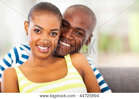 portrait of smiling young african couple in love