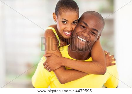 close up portrait of happy african couple