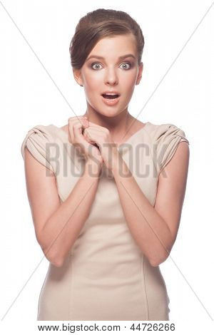 Portrait of surprised young beautiful woman with open mouth. Isolated on white background