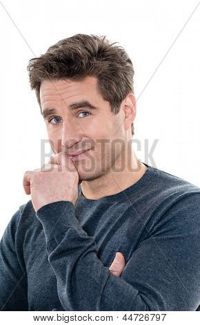 one caucasian man mature handsome shy portrait studio  white background