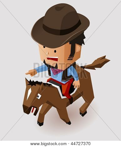 Bandit riding horse. Vector Illustration