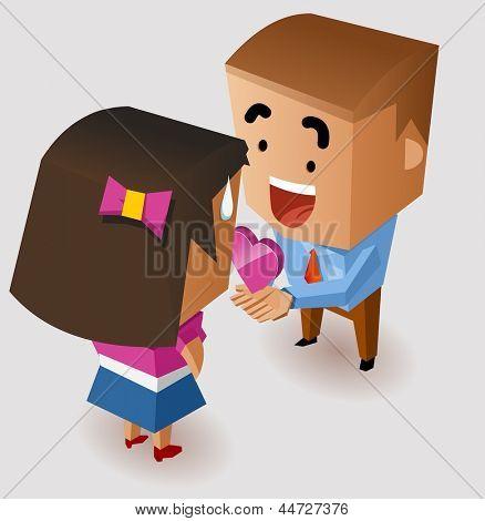 Romantic proposing on Valentine. Vector Illustration