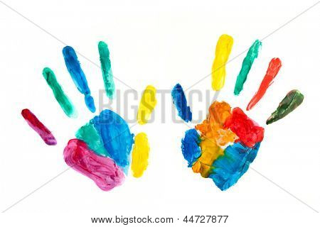 Hands painted, stamped on paper, colorful fun. Creative, funny and artistic means happy! Isolated on white.