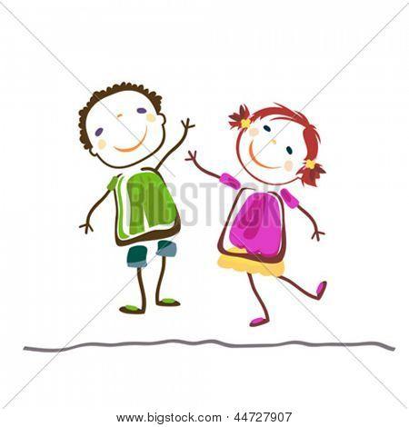 小男孩和女孩 ;快乐的孩子