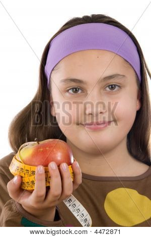 Cute Girl With A Apple With Tape Measure