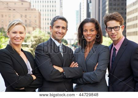 Portrait Of Four Business Colleagues Outside Office