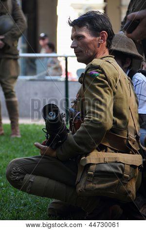 Brisbane, Australia - April 25 : Unidentified World War 2 Reenactor Poses During Anzac Day Commemora