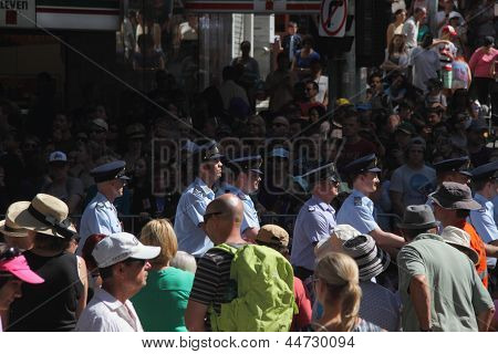 Brisbane, Australia - April 25 : Large Crowds Line The March Route During Anzac Day Commemorations
