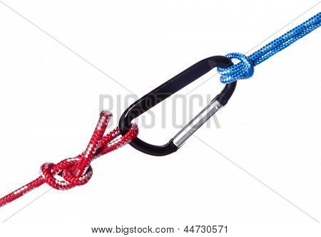 red and blue ropes connected by carabiner hook