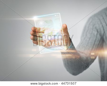 close up of man holding transparent phone