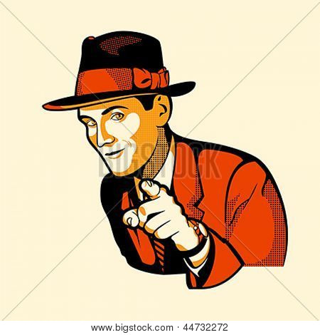 Handsome vintage man pointing at you isolated