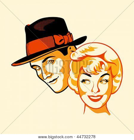Vintage flirting couple in three color print halftone pattern