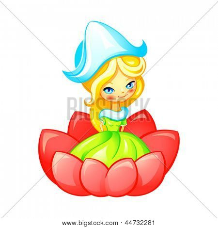 Cute Thumbelina fairy in flower isolated