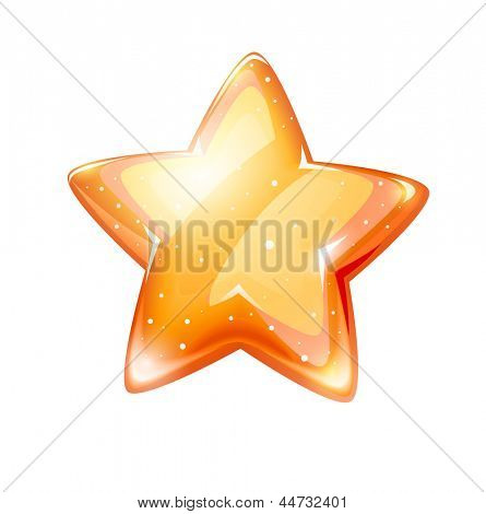 magic gold glossy star isolated. Rasterized illustration. Vector version also available in my gallery.