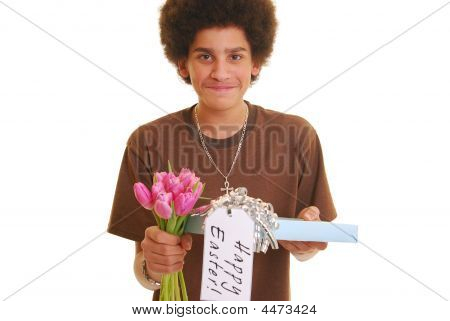 Teenager Holding A Present