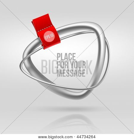 Abstract tubular silver frame with red label - vector illustration