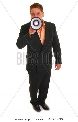 Business Man Holding A Megaphone
