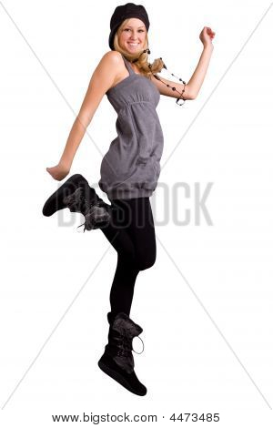 Exuberant Teenage Girl Jumping For Joy