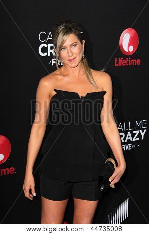 "LOS ANGELES - APR 16:  Jennifer Aniston arrives at the ""Call Me Crazy: A Five Film"" Premiere at the Pacific Design Center on April 16, 2013 in West Hollywood, CA"