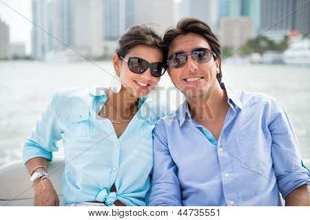 Summer couple in romantic getaway on a yacht