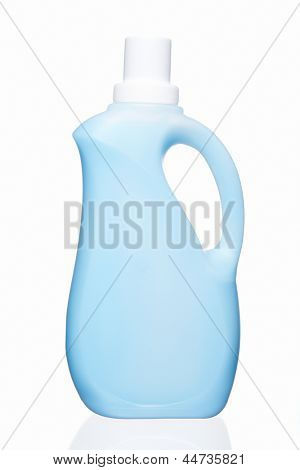 Light blue detergent container. Isolated on white