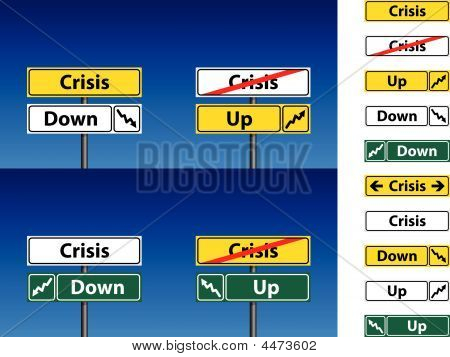 Crisis Direction Sign And Blue Sky Background