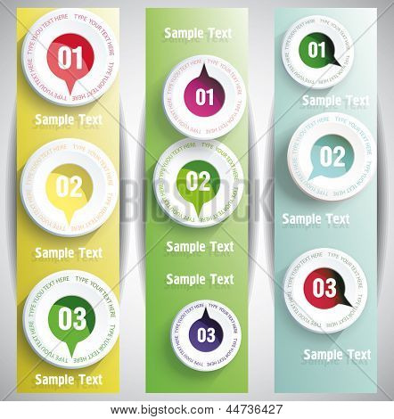 Banners with numbers in the circles.Design template. can be used for infographics. numbered banners. vertical cutout lines