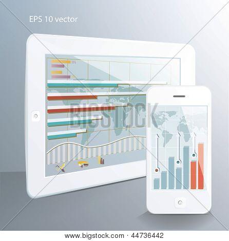 Conceito de negócio: tablet computador e smartphone touchscreen com aplicações de mercado de ações. Vecto