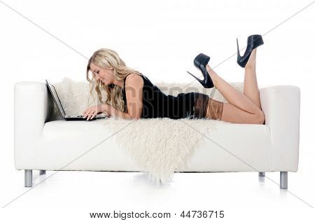 The elegant woman on a white sofa with the laptop. Business concept.