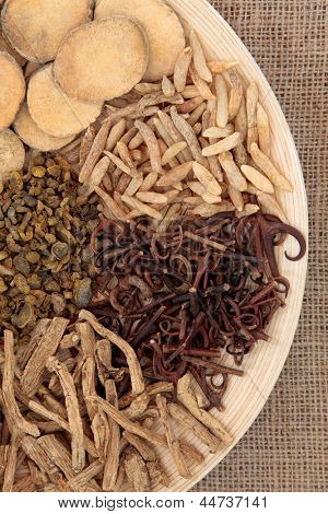 Chinese herbal medicine selection on a round wooden bowl over hessian background.