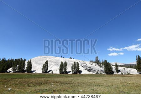 Yosemite National Park landscape scenery, the Pothole Dome, California, USA. Summer day with beautiful blue sky.